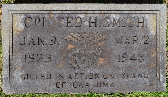 Ted H Smith, son of Walter Smith, killed at Iwo Jima - Red Hill Baptist Church